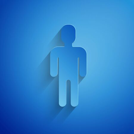 Paper cut User of man in business suit icon isolated on blue background. Business avatar symbol user profile icon. Male user sign. Paper art style. Vector Illustration