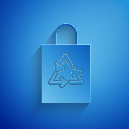 Paper cut Plastic bag with recycle icon isolated on blue background. Bag with recycling symbol. Paper art style. Vector Illustration