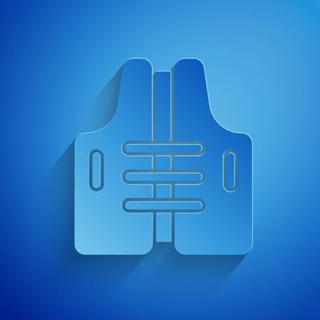 Paper cut Life jacket icon isolated on blue background. Life vest icon. Extreme sport. Sport equipment. Paper art style. Vector Illustration Stock Illustratie