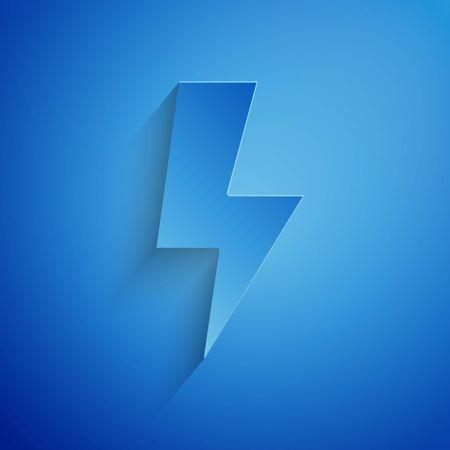Paper cut Lightning bolt icon isolated on blue background. Flash sign. Charge flash icon. Thunder bolt. Lighting strike. Paper art style. Vector Illustration Ilustracja
