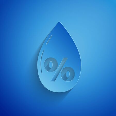Paper cut Water drop percentage icon isolated on blue background. Humidity analysis. Paper art style. Vector Illustration  イラスト・ベクター素材