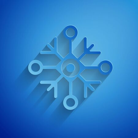 Paper cutSnowflake icon isolated on blue background. Paper art style. Vector Illustration