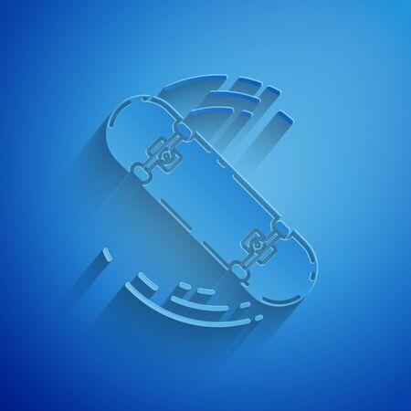 Paper cut Skateboard trick icon isolated on blue background. Extreme sport. Sport equipment. Paper art style. Vector Illustration Illusztráció