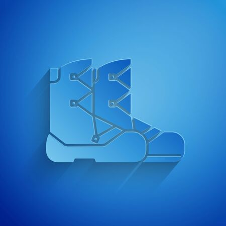 Paper cut Boots icon isolated on blue background. Paper art style. Vector Illustration Stock Illustratie