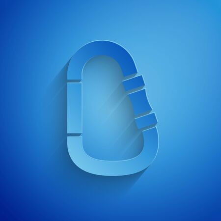 Paper cut Carabiner icon isolated on blue background. Extreme sport. Sport equipment. Paper art style. Vector Illustration