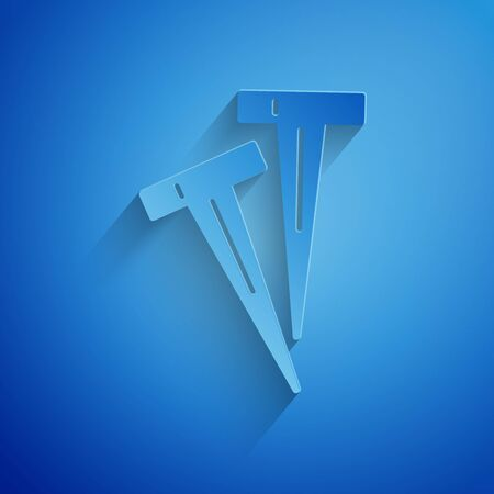 Paper cut Pegs for tents icon isolated on blue background. Extreme sport. Sport equipment. Paper art style. Vector Illustration Ilustração