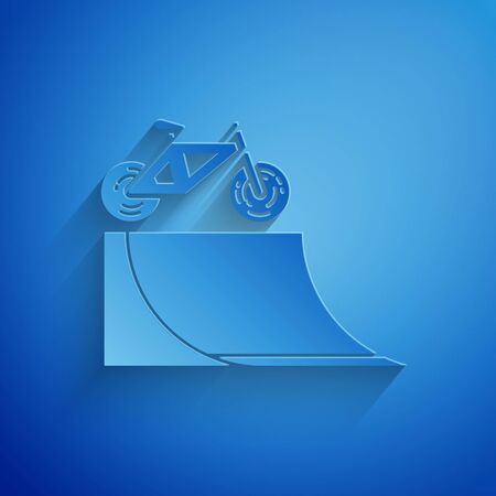 Paper cut Bicycle on street ramp icon isolated on blue background. Skate park. Extreme sport. Sport equipment. Paper art style. Vector Illustration Illusztráció