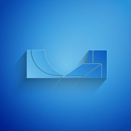 Paper cut Skate park icon isolated on blue background. Set of ramp, roller, stairs for a skatepark. Extreme sport. Paper art style. Vector Illustration Illusztráció