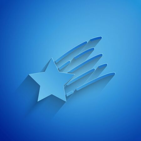 Paper cut Falling star icon isolated on blue background. Shooting star with star trail. Meteoroid, meteorite, comet, asteroid, star icon. Paper art style. Vector Illustration Banco de Imagens - 129238179