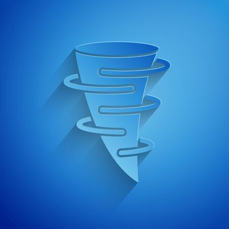 Paper cut Tornado icon isolated on blue background. Paper art style. Vector Illustration Illusztráció