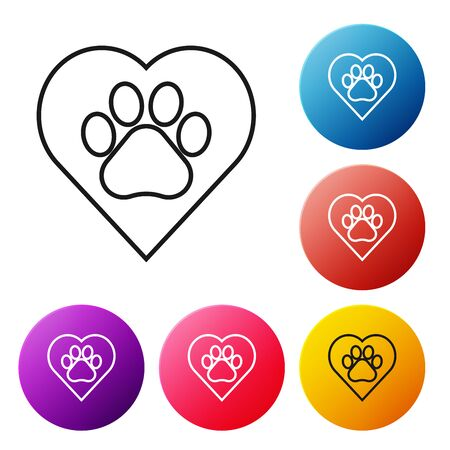 Black line Heart with animals footprint icon isolated on white background. Pet paw in heart. Love to the animals. Set icons colorful circle buttons. Vector Illustration