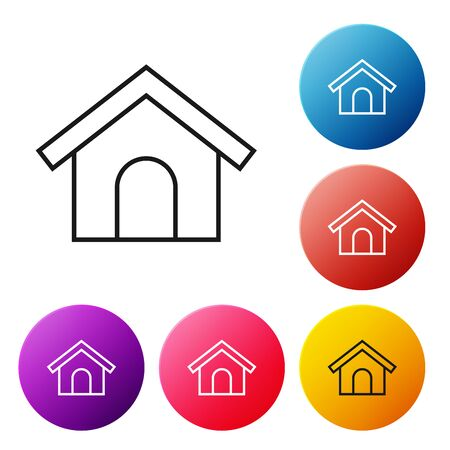 Black line Dog house icon isolated on white background. Dog kennel. Set icons colorful circle buttons. Vector Illustration