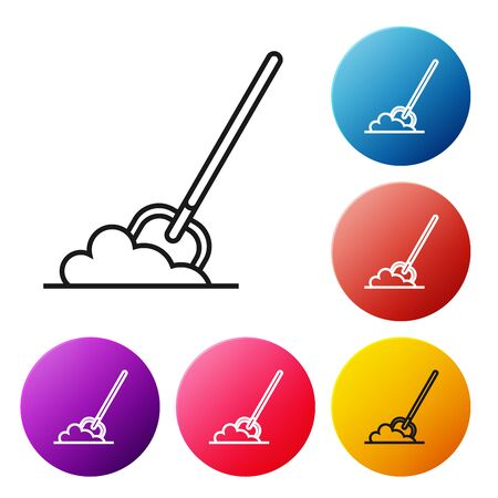 Black line Shovel in the ground icon isolated on white background. Gardening tool. Tool for horticulture, agriculture, farming. Set icons colorful circle buttons. Vector Illustration