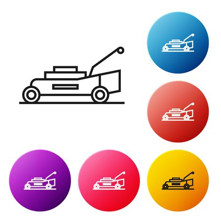 Black line Lawn mower icon isolated on white background. Lawn mower cutting grass. Set icons colorful circle buttons. Vector Illustration