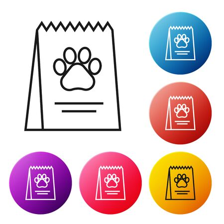 Black line Bag of food for dog icon isolated on white background. Dog or cat paw print. Food for animals. Pet food package. Set icons colorful circle buttons. Vector Illustration