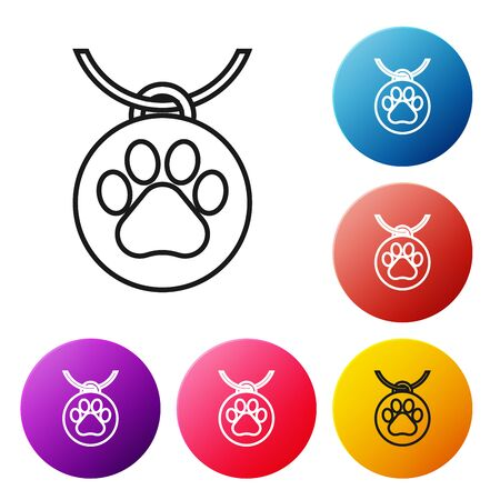 Black line Collar with name tag icon on white background. Supplies for domestic animal. Dog or cat paw print. Cat and dog care. Pet chains. Set icons colorful circle buttons. Vector Illustration Иллюстрация