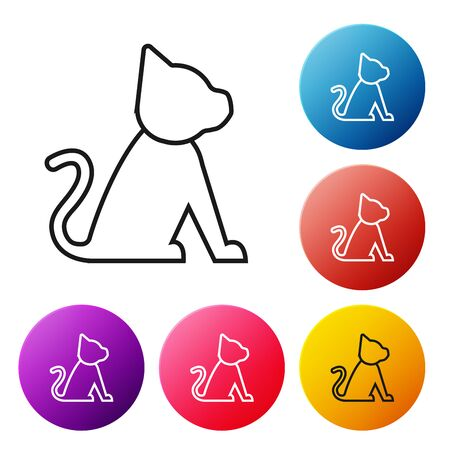 Black line Cat icon isolated on white background. Set icons colorful circle buttons. Vector Illustration Archivio Fotografico - 129238263