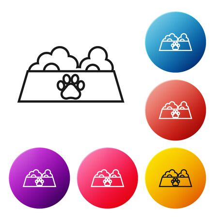 Black line Pet food bowl for cat or dog icon isolated on white background. Dog or cat paw print. Set icons colorful circle buttons. Vector Illustration Иллюстрация