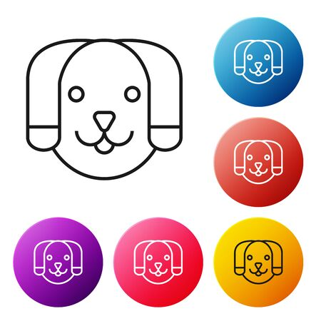 Black line Dog icon isolated on white background. Set icons colorful circle buttons. Vector Illustration Иллюстрация
