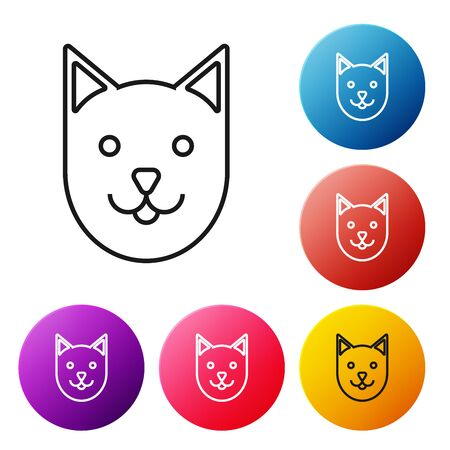 Black line Cat icon isolated on white background. Set icons colorful circle buttons. Vector Illustration Archivio Fotografico - 129238283