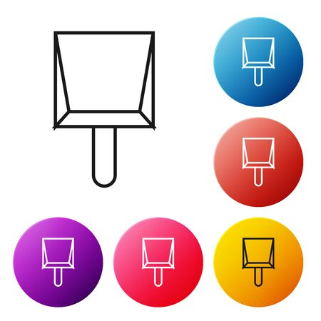 Black line Dustpan icon isolated on white background. Cleaning scoop services. Set icons colorful circle buttons. Vector Illustration