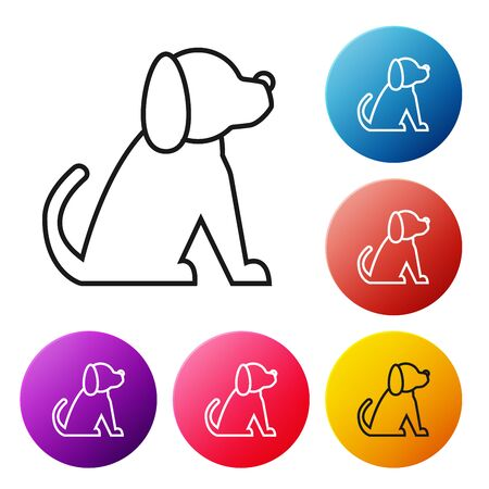 Black line Dog icon isolated on white background. Set icons colorful circle buttons. Vector Illustration Archivio Fotografico - 129238284