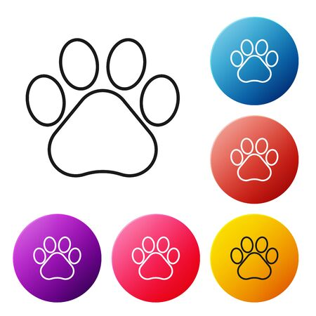 Black line Paw print icon isolated on white background. Dog or cat paw print. Animal track. Set icons colorful circle buttons. Vector Illustration