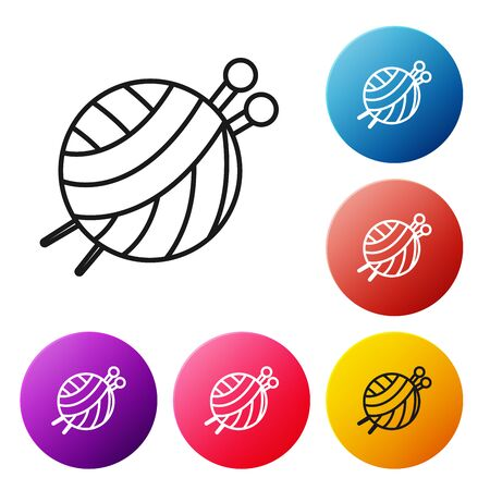 Black line Yarn ball with knitting needles icon isolated on white background. Label for hand made, knitting or tailor shop. Set icons colorful circle buttons. Vector Illustration Иллюстрация