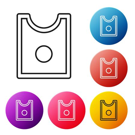 Black line Sewing Pattern icon isolated on white background. Markings for sewing. Set icons colorful circle buttons. Vector Illustration Çizim