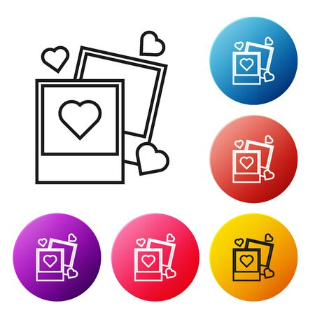 Black line Two blanks photo frames and hearts icon isolated on white background. Valentines Day symbol. Set icons colorful circle buttons. Vector Illustration
