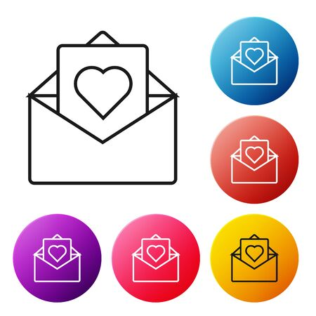 Black line Envelope with Valentine heart icon isolated on white background. Message love. Letter love and romance. Set icons colorful circle buttons. Vector Illustration