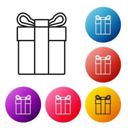 Black line Gift box icon isolated on white background. Set icons colorful circle buttons. Vector Illustration Stockfoto - 129238967