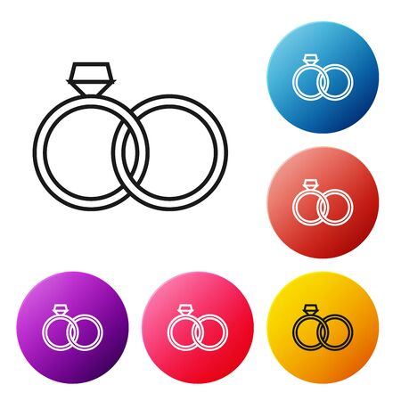 Black line Wedding rings icon isolated on white background. Bride and groom jewelery sign. Marriage icon. Diamond ring icon. Set icons colorful circle buttons. Vector Illustration