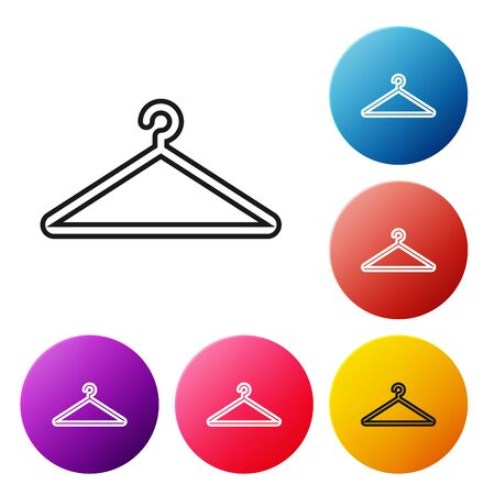 Black line Hanger wardrobe icon isolated on white background. Cloakroom icon. Clothes service symbol. Laundry hanger sign. Set icons colorful circle buttons. Vector Illustration