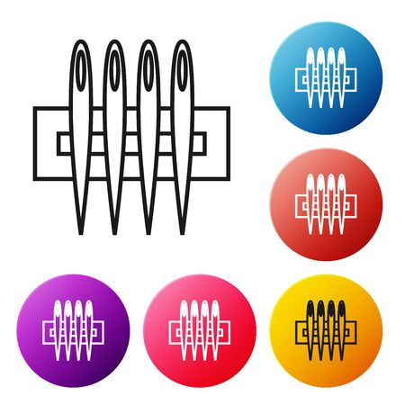 Black line Needle for sewing icon isolated on white background. Tailor symbol. Textile sew up craft sign. Embroidery tool. Set icons colorful circle buttons. Vector Illustration