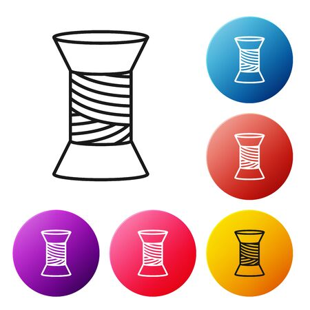 Black line Sewing thread on spool icon isolated on white background. Yarn spool. Thread bobbin. Set icons colorful circle buttons. Vector Illustration