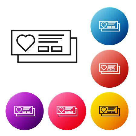 Black line Ticket with heart icon isolated on white background. Boarding pass with heart. Set icons colorful circle buttons. Vector Illustration Ilustração