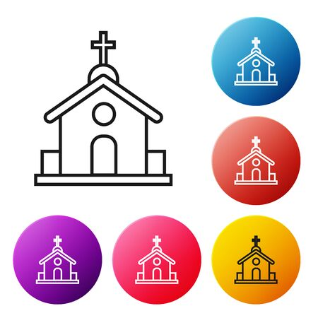 Black line Church building icon isolated on white background. Christian Church. Religion of church. Set icons colorful circle buttons. Vector Illustration