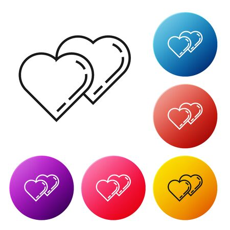 Black line Two Linked Hearts icon isolated on white background. Romantic symbol linked, join, passion and wedding. Valentine day symbol. Set icons colorful circle buttons. Vector Illustration Ilustração