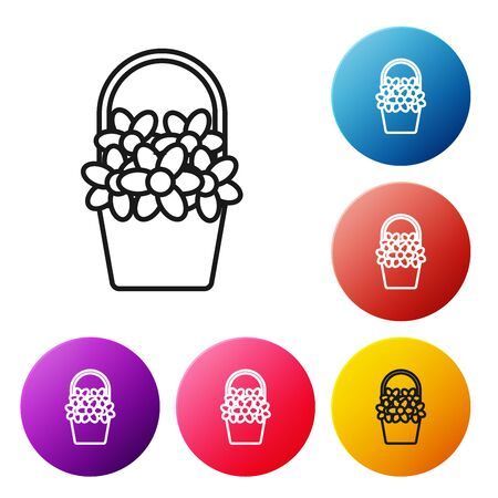 Black line Flowers in a basket icon isolated on white background. Set icons colorful circle buttons. Vector Illustration