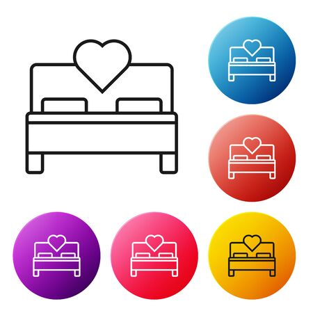 Black line Bedroom icon isolated on white background. Wedding, love, marriage symbol. Bedroom creative icon from honeymoon collection. Set icons colorful circle buttons. Vector Illustration
