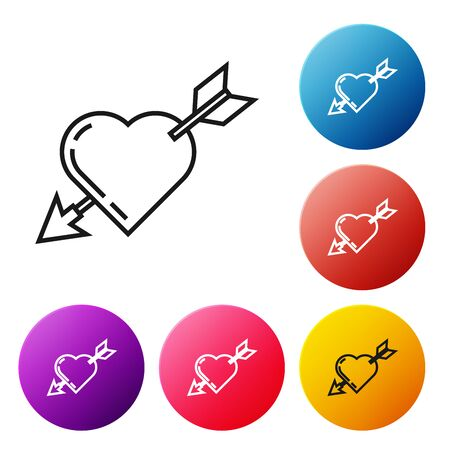 Black line Amour symbol with heart and arrow icon isolated on white background. Love sign. Valentines symbol. Set icons colorful circle buttons. Vector Illustration