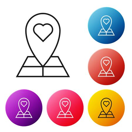 Black line Map pointer with heart icon isolated on white background. Valentines day. Love location. Romantic map pin. Set icons colorful circle buttons. Vector Illustration Иллюстрация