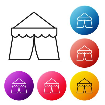 Black line Circus tent icon isolated on white background. Carnival camping tent. Amusement park. Set icons colorful circle buttons. Vector Illustration