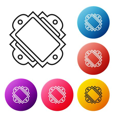 Black line Ticket icon isolated on white background. Amusement park. Set icons colorful circle buttons. Vector Illustration