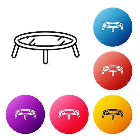 Black line Jumping trampoline icon isolated on white background. Set icons colorful circle buttons. Vector Illustration Ilustrace