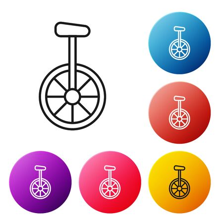 Black line Unicycle or one wheel bicycle icon isolated on white background. Monowheel bicycle. Set icons colorful circle buttons. Vector Illustration