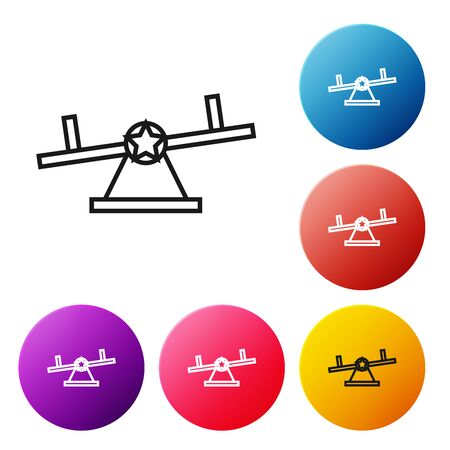 Black line Seesaw icon isolated on white background. Teeter equal board. Playground symbol. Set icons colorful circle buttons. Vector Illustration