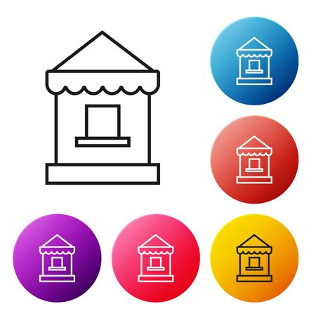 Black line Ticket box office icon isolated on white background. Ticket booth for the sale of tickets for attractions and sports. Set icons colorful circle buttons. Vector Illustration 일러스트