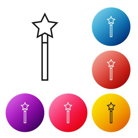 Black line Magic wand icon isolated on white background. Star shape magic accessory. Magical power. Set icons colorful circle buttons. Vector Illustration Çizim